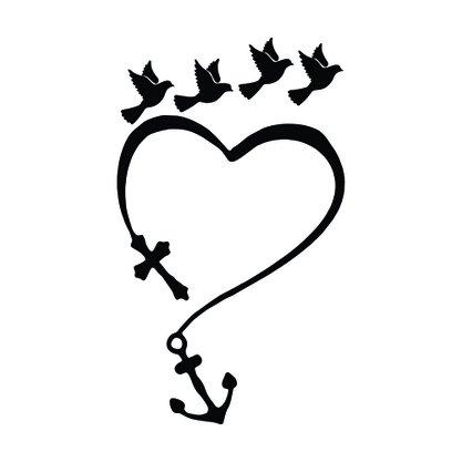 Adesivo Recortado para Carro - Fé,Esperança, Amor (modelo 01) -