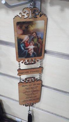 Adorno com Imagem 3D - Sagrada Família e Oração -