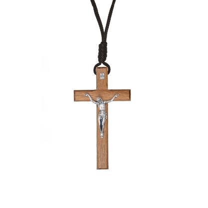 Colar - Crucifixo Madeira - Tradicional 9 cm -