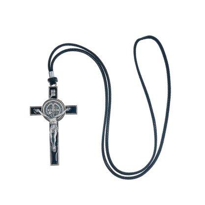 Colar - Crucifixo Metal com Medalha São Bento - 7,8 cm -