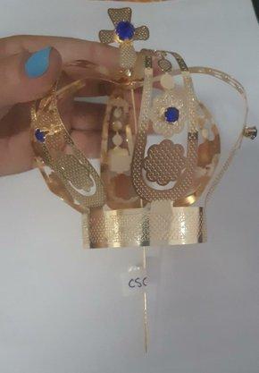 Coroa Simples Dourada 14,5 cm - Para Imagem de 1 metro -
