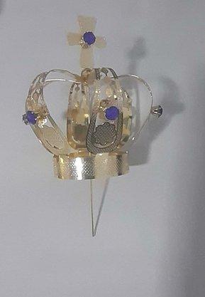 Coroa Simples Dourada 9,5 cm - Para Imagem de 60 cm -