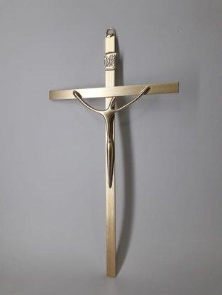 Crucifixo de Metal Estilizado 24 x 13 cm - Barra Chata