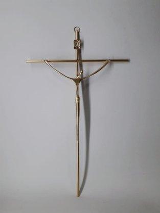 Crucifixo de Metal Estilizado 28 x 19 cm - Barra Redonda