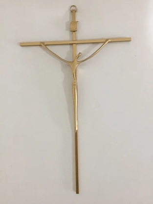 Crucifixo Metal Estabilizado 28 x 19 cm - Barra Quadrada -