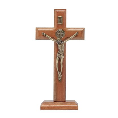 Crucifixo para Mesa -  São Bento - 17 cm - Ouro Velho -