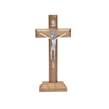 Crucifixo para Mesa - São Bento - 17 cm - Prata Velha -
