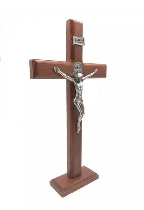 Crucifixo para Mesa - São Bento - 26 cm  - Prata Velha -