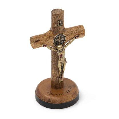 Crucifixo para Mesa - São Bento - 7 cm - Ouro Velho -