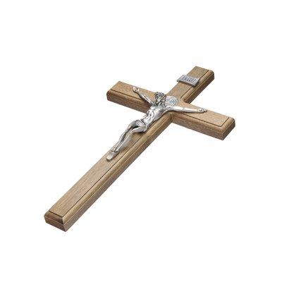 Crucifixo para Parede - São Bento - 35 cm - Prata Velha -