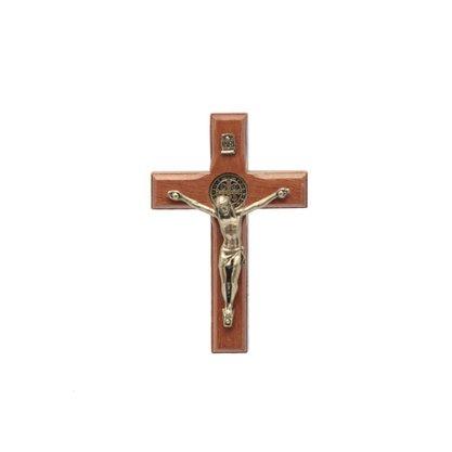 Crucifixo para Parede - São Bento - 7 cm - Ouro velho -