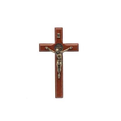 Crucifixo para Parede - São Bento - 9 cm - Ouro Velho -
