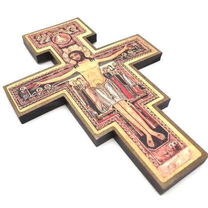 Cruz São Damião de Parede 19 cm -