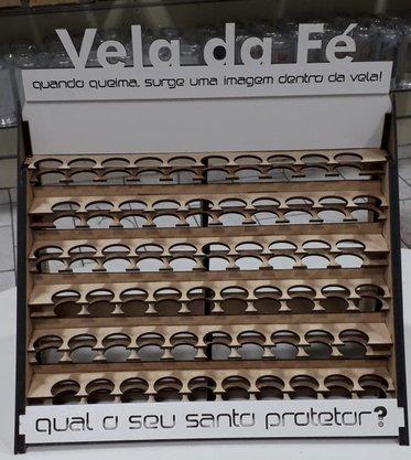 Expositor em MDF para 60 unidades de Velas da Fé -