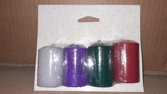 kit 4 velas para Advento - 3,5 x 5 cm - Lilás, Vermelha, Verde e Branca