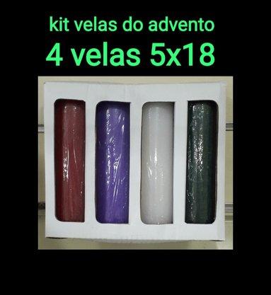 kit 4 velas Texturizadas para Advento  - 5 x 18 cm - Lilás, Vermelha, Verde e Branca