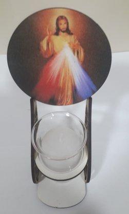 Pedestal em MDF com Vela e Vidro - Jesus Misericordioso -