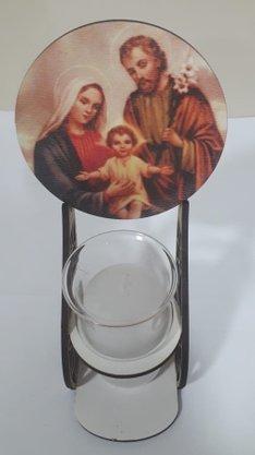 Pedestal em MDF com Vela e Vidro - Sagrada Família -