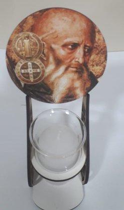Pedestal em MDF com Vela e Vidro - São Bento -