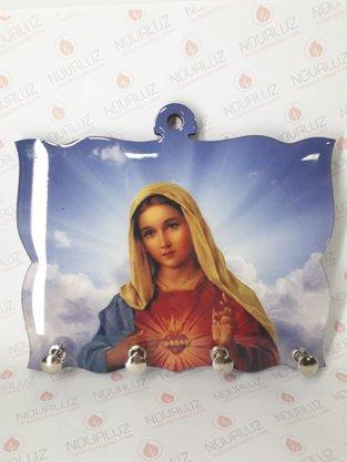 Porta Chaves 4 Pinos Resinado - Imaculado Coração de Maria -
