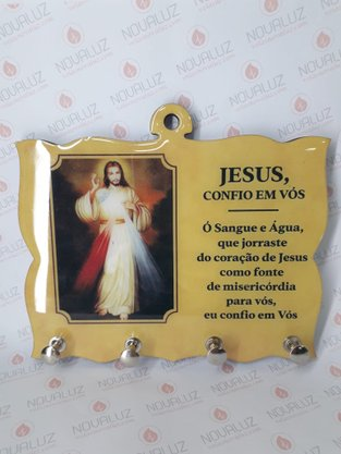 Porta Chaves 4 Pinos Resinado - Jesus Misericordioso -