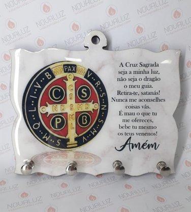 Porta Chaves 4 Pinos Resinado - Medalha de São Bento -