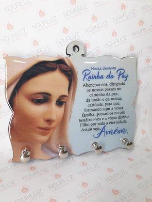 Porta Chaves 4 Pinos Resinado -  Rainha da Paz -