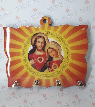 Porta Chaves 4 Pinos Resinado - Sagrado Coração de Jesus e Imaculado Coração de Maria -
