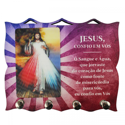 Porta Chaves  com Imagem 3D - Jesus Misericordioso -
