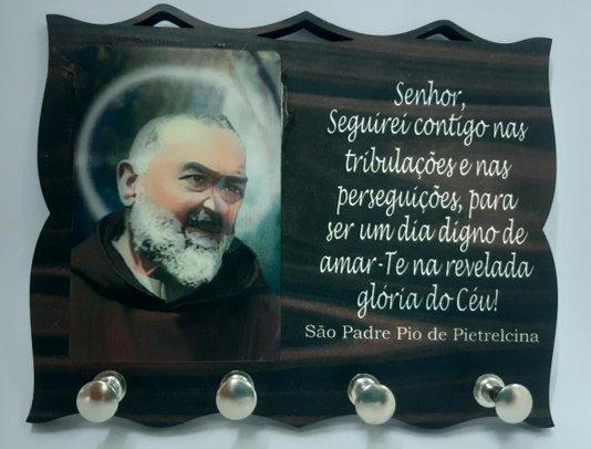 Porta Chaves com Imagem 3D - Padre Pio -