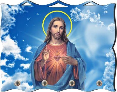 Porta Chaves com Imagem Fotográfica - Sagrado coração de Jesus -