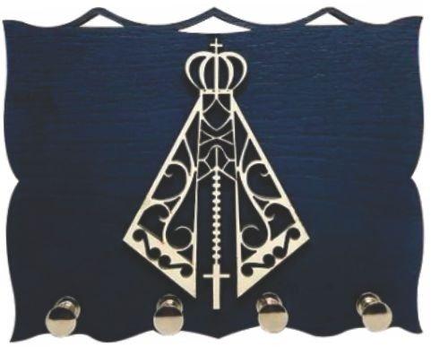 Porta Chaves  Madeirado com Silhueta - N. S. Aparecida -