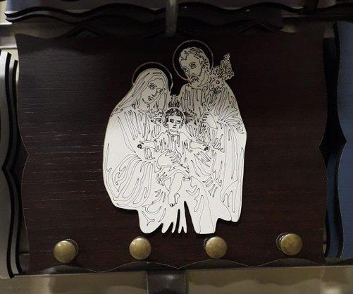 Porta Chaves  Madeirado com Silhueta - Sagrada Família -