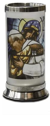 Porta Vela  com Imagem Colorida - Papa São João Paulo II (mosaico) -