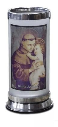 Porta Vela  com Imagem Colorida - Santo Antônio -