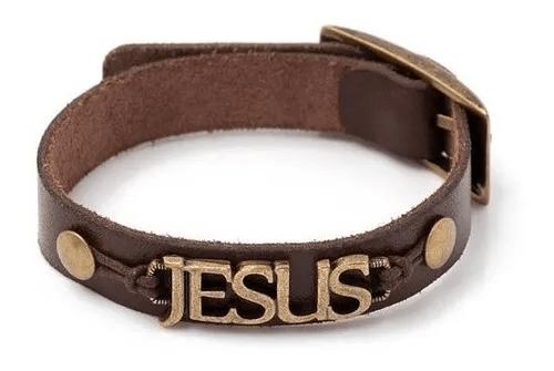 Pulseira em Couro Jesus  -