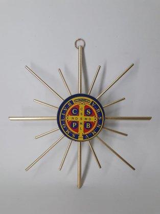Adorno São Bento de Metal 15 cm -