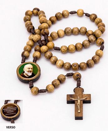 Terço Madeira Padre Pio Resinado com Frase no Verso -