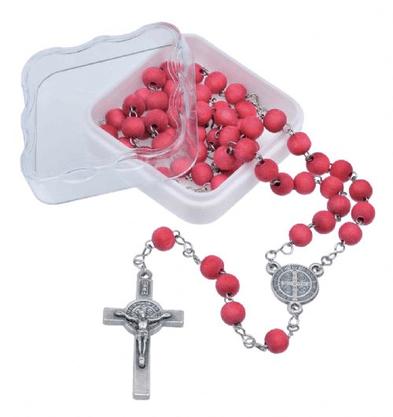 Terço na Corrente Inox com triângulo e crucifixo São Bento -