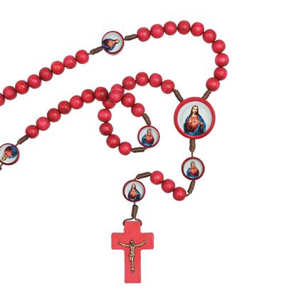 Terço - Sagrado Coração de Jesus e Imaculado Coração de Maria no cordão com triângulo e entremeios - resinados
