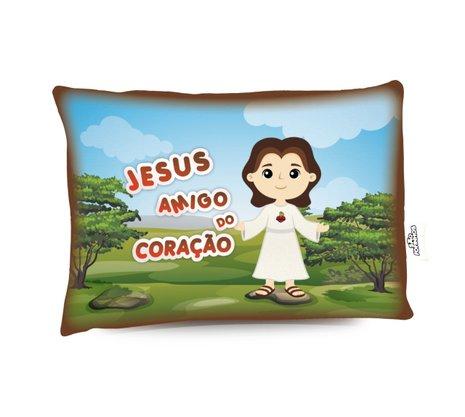 Travesseiro Jesus Amigo do Coração - Aromatizado Chá de Camomila -