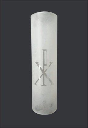 Tubo de Vidro para Castiçal Decorado Vazado - 09 x 31cm