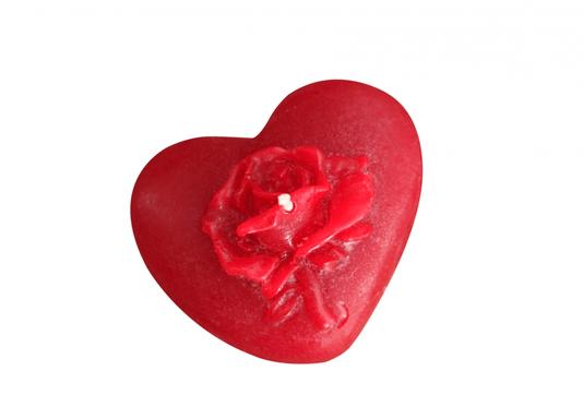 Vela Coração Grande + Rosa - Cartela com 1 -