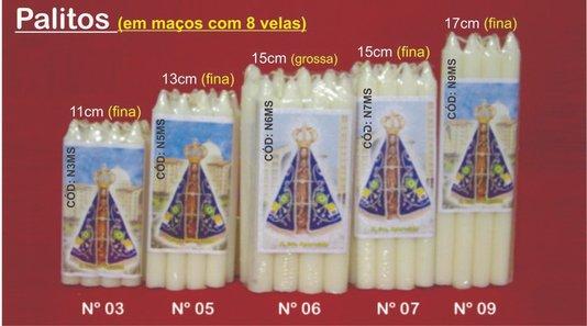 Vela Palito N°6 - Maço com 8 velas 1,6 x 14 cm - Mista -