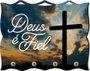Porta Chaves com Imagem Fotográfica - Deus é Fiel - Cruz -